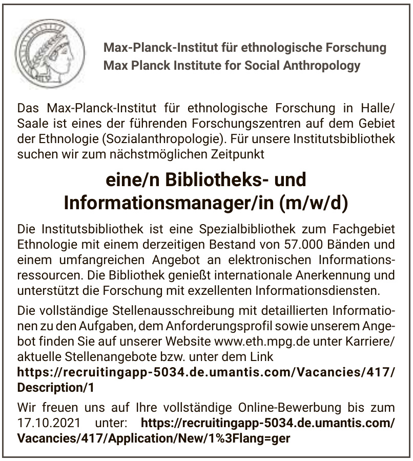 Max-Planck-Institut für ethnologische Forschung Max Planck Institute for Social Anthropology