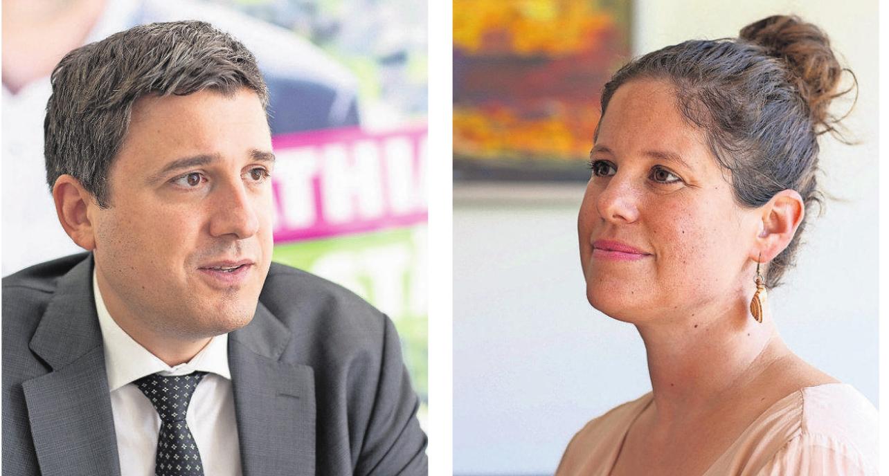 Herausforderer: Mathias Zopfi will in den Ständerat, Priska Grünenfelder kandidiert für den Nationalrat. Bilder: Sasi Subramaniam