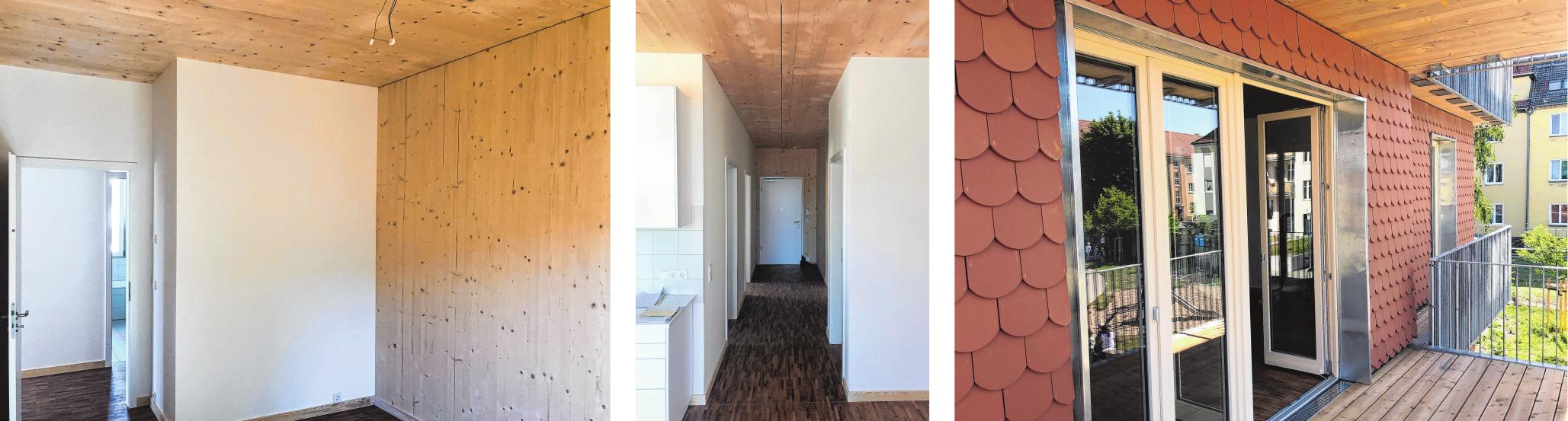 Die Innenräume präsentieren sich hell und geräumig und sie bestehen aus wiederverwertbarem Material. Blick in eine der Wohnungen mit Holzdecke. Die Außenwände der Häuser sind mit optisch attraktiven Biberschwanz-Ziegeln verkleidet.
