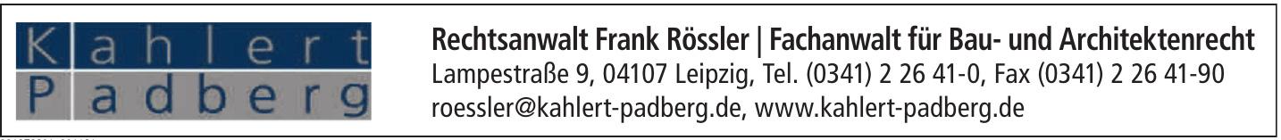 Rechtsanwalt Frank Rössler / Fachanwalt für Bau- und Architektenrecht