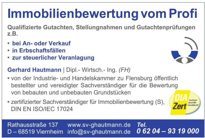 Gerhard Hautmann Dipl.-Wirtsch.- Ing. (FH)