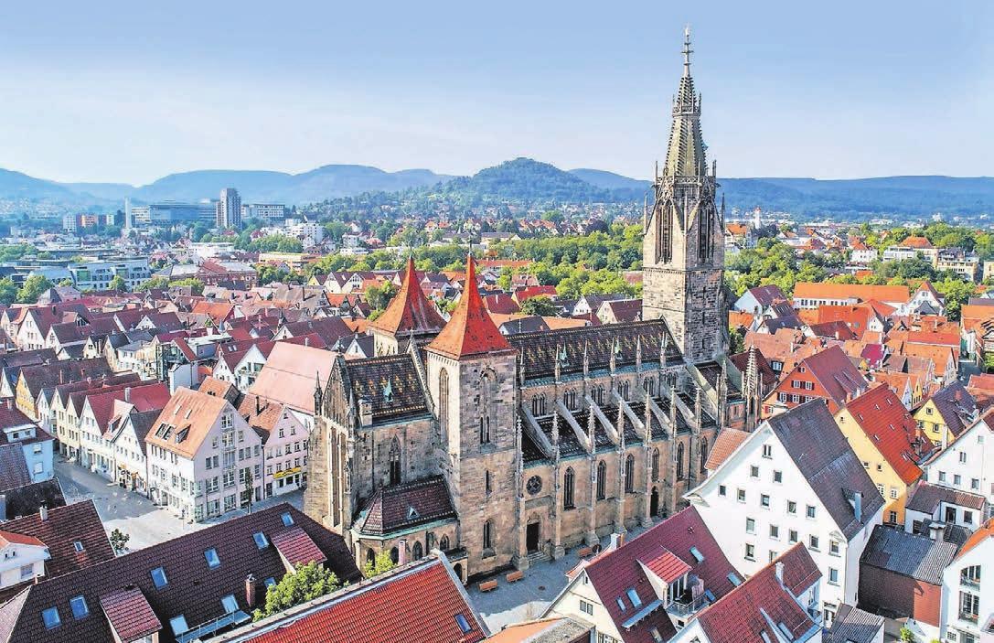 Über den Dächern von Reutlingen mit der Marienkirche im Zentrum. Foto: Horst Haas