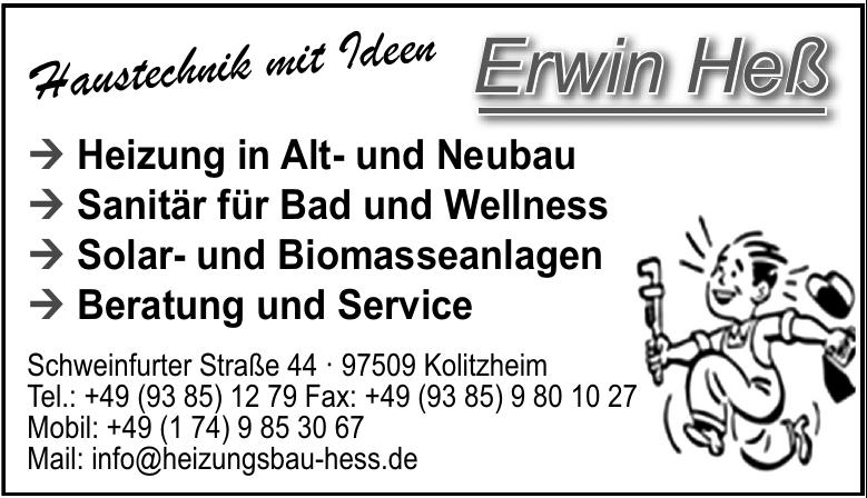 Erwin Heß - Sanitär - Heizungsbaumeister