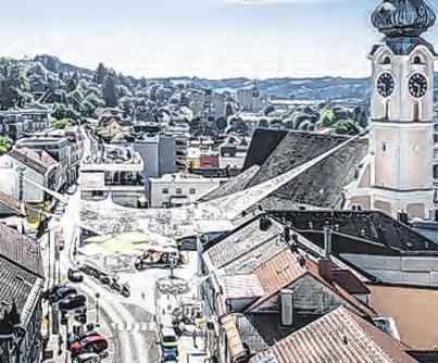 Ein Kunstwerk schwebt über der Stadt. Foto: Simon Bauer