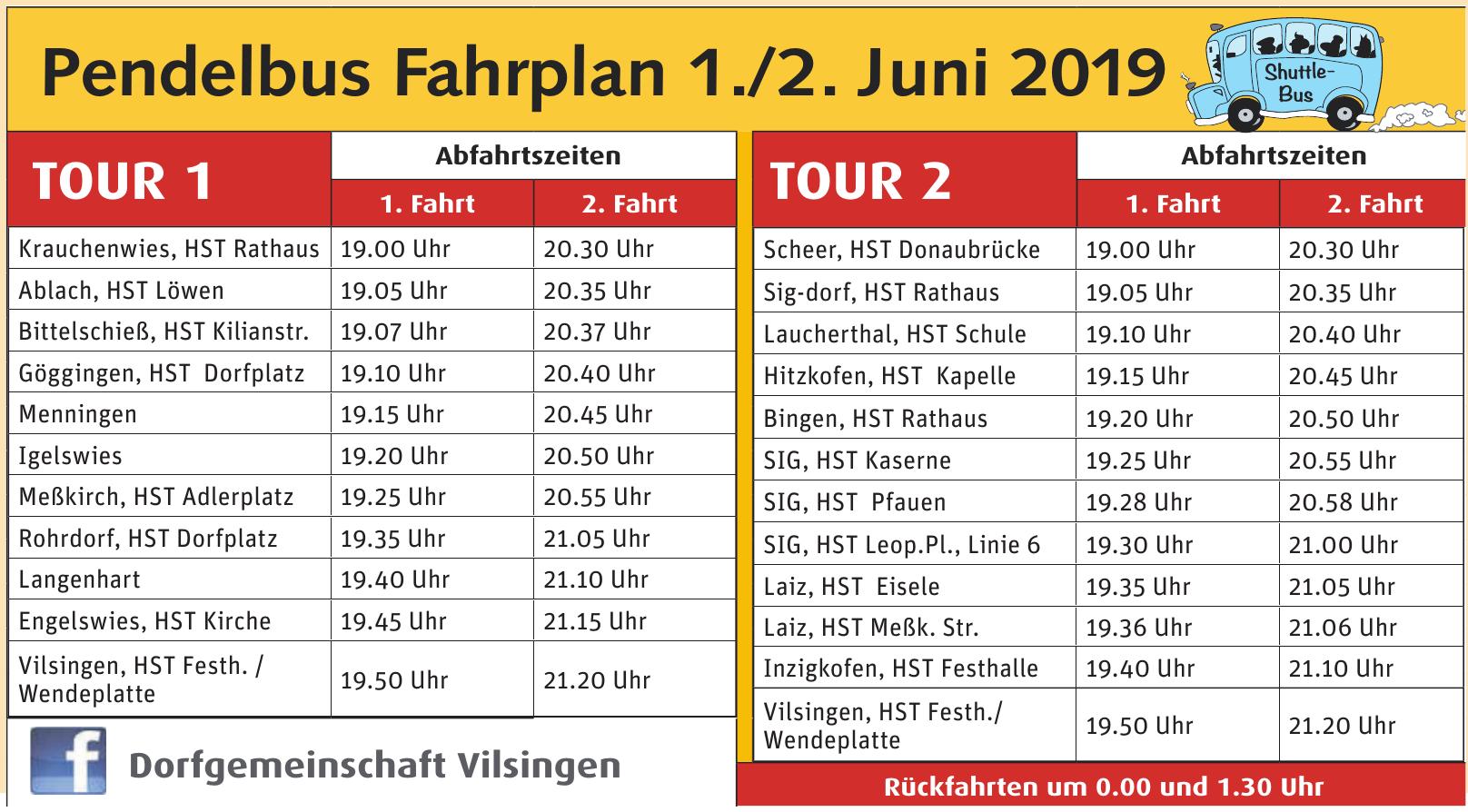 Pendelbus Fahrplan 1./2. Juni 2019
