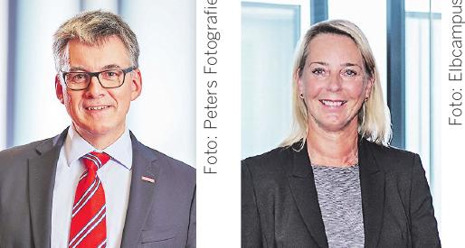 Hjalmar Stemmann, Präsident der Handwerkskammer Hamburg (links). Foto: Peters Fotografie. Setzt sich für Digitalisierung ein: Bärbel Wenckstern, Leiterin Elbcampus (rechts). Foto: Elbcampus