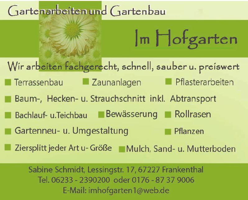 Sabine Schmidt Gartenarbeiten und Gartenbau im  Hofgarten