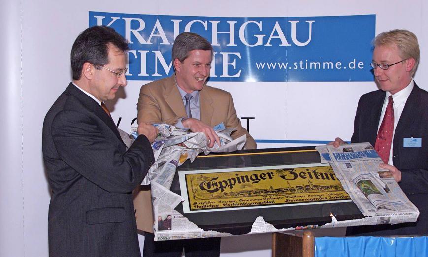 Startschuss für die Kraichgau Stimme: (von links) Ex-Geschäftsführer Bernd Herzberger, Redaktionsleiter Uwe Ralf Heer und Verleger Tilmann Distelbarth.