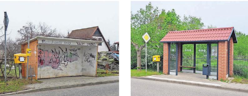 Die alte und die neue Bushaltestelle in Arpshagen.