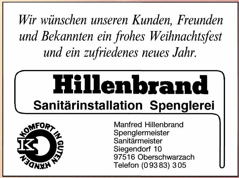 Manfred Hillenbrand Spenglermeister, Sanitärmeister