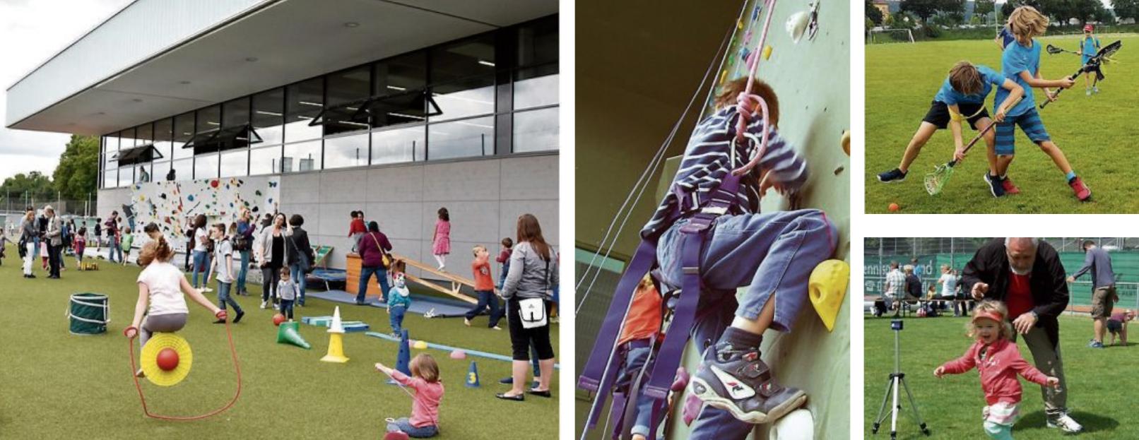Ob in der KISS-Welt unter dem Vordach des Ehrmann-Sportzentrums, beim Klettern an der TÜ-Arena, beim Lacrosse, an der Speedmessanlage, beim Seifenblasen-Formen oder bei den Mitmachangeboten für Erwachsene: Beim TSG-Familiensporttag darf sich jeder auf Action, Sport und Spaß freuen! Bilder: TSG Tübingen