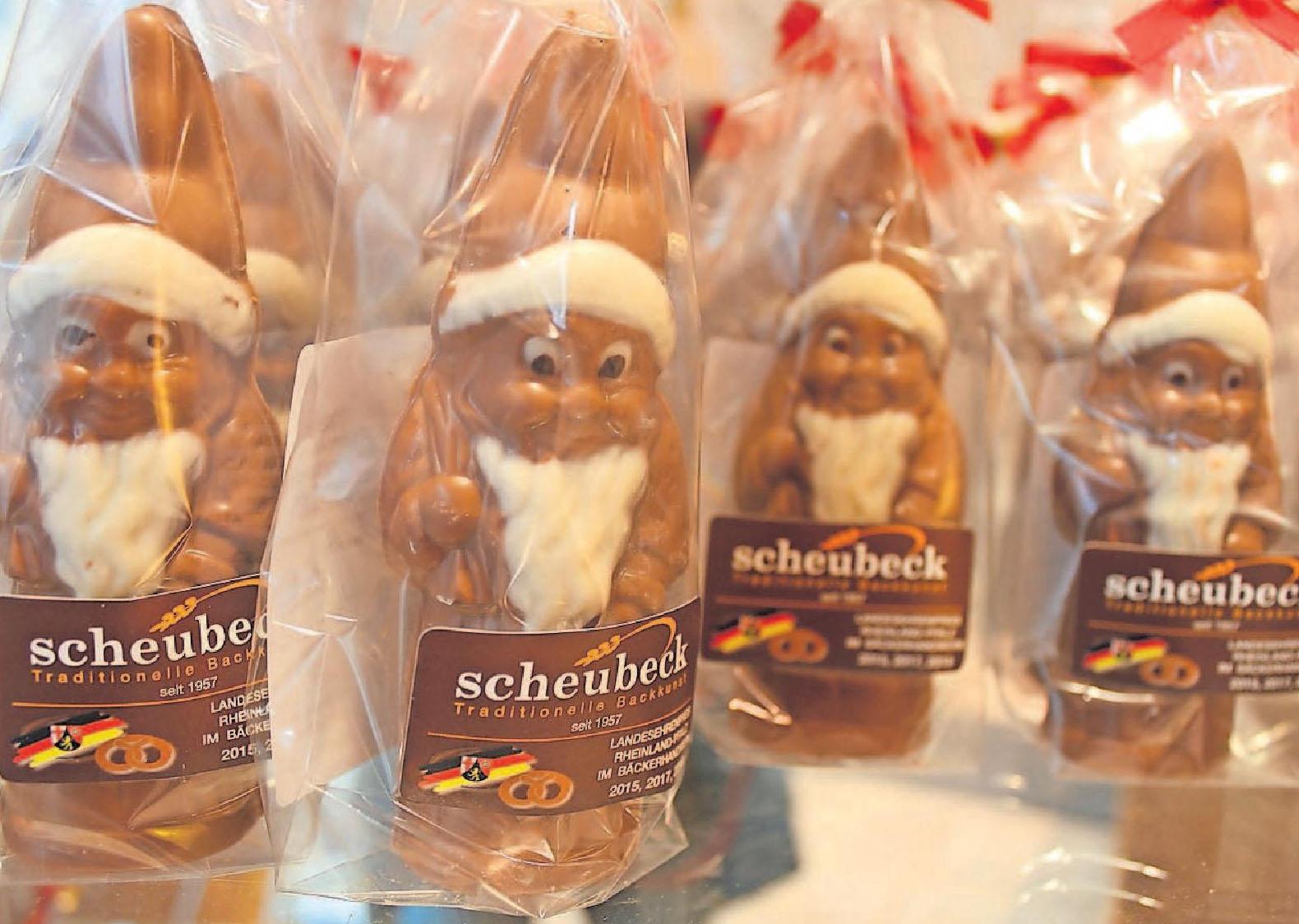 """Beteiligt sich an der Aktion """"Oggersheimer Weihnachtslos"""": die Bäckerei/Konditorei Scheubeck in der Schillerstraße. Aktuell gibt es hier auch selbst gefertigte Schokoladen-Figuren. FOTO: SCHERZINGER"""