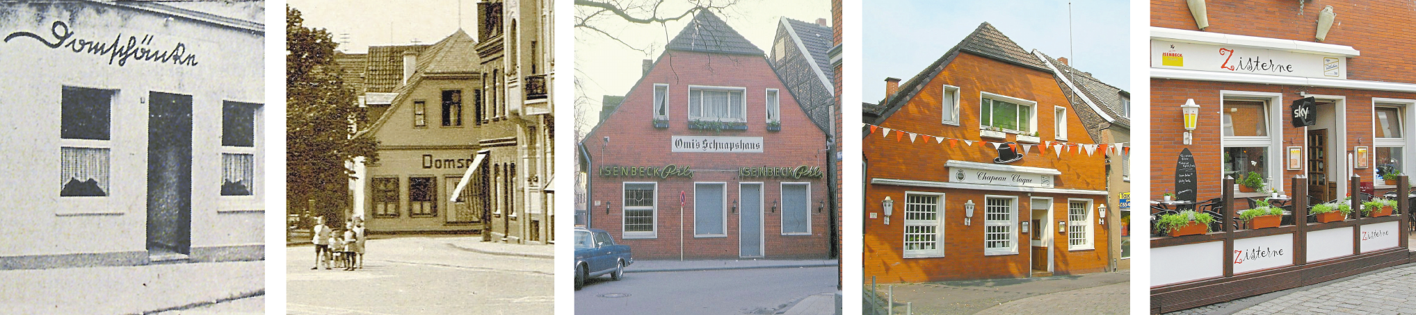 """Von der """"Domschänke"""" über """"Omis Schnapshaus"""" und """"Chapeau Claque"""" bis hin zur """"Zisterne"""". Den aktuellen Namen hat die Gaststätte seit 15 Jahren. Fotos: Archiv / Christian Wolff"""