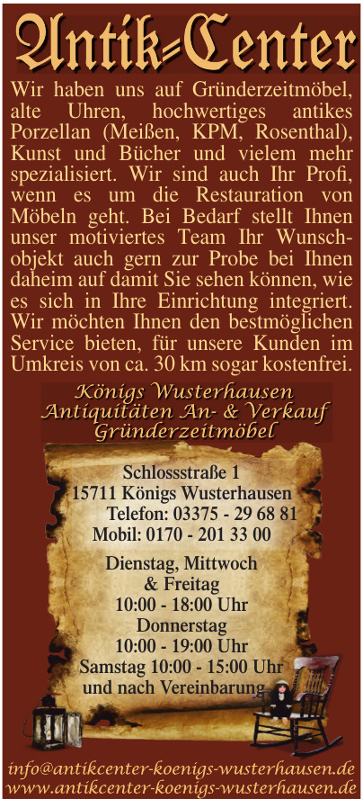 Königs Wusterhausen Antiquitäten An- & Verkauf Gründerzeitmöbel
