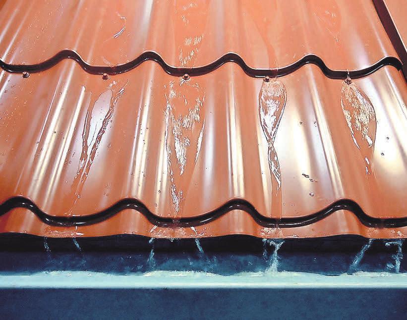 Dachpfannen mit Regenrinne. Foto: Busche