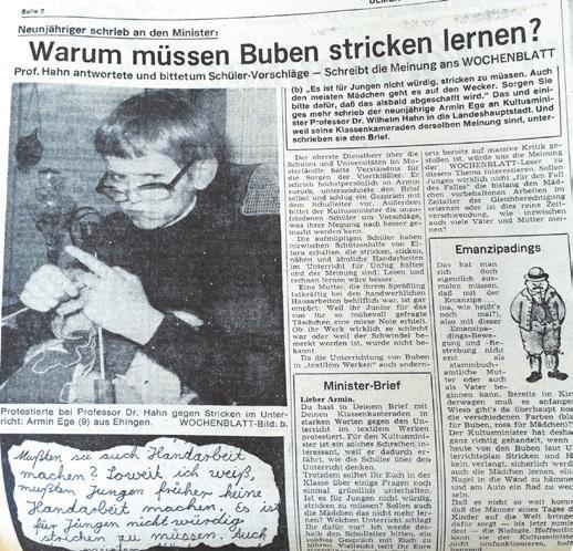 Witzige Geschichten wie die des jungen Herren, der es für unwürdig erachtet, als Junge stricken lernen zu müssen, konnte man in den 70er-Jahren im ulmer wochenblatt lesen.