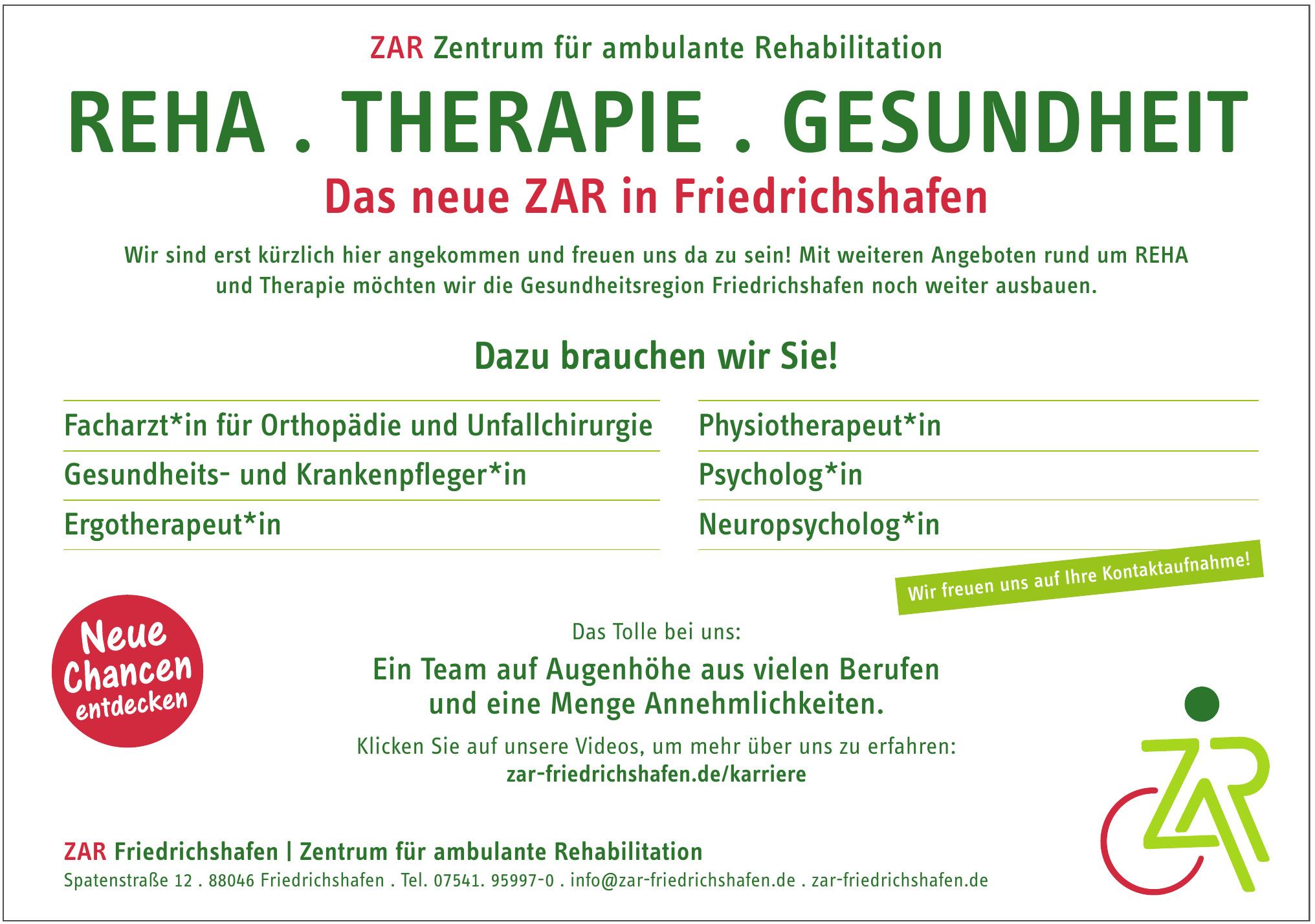 ZAR Friedrichshafen - Zentrum für ambulante Rehabilitation