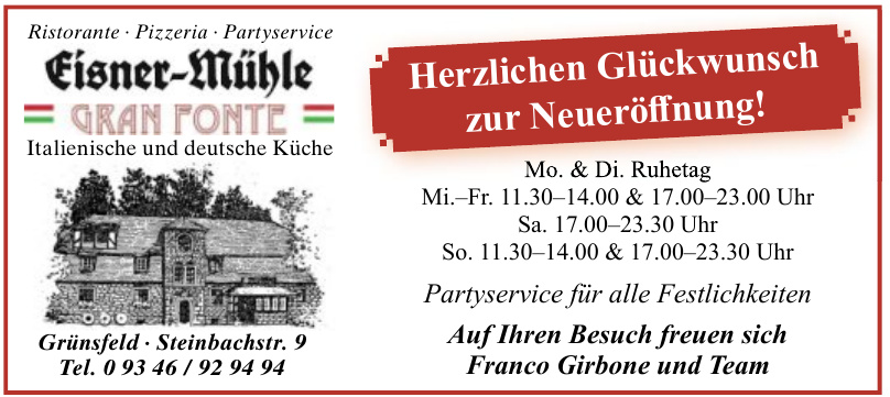 Ristorante, Pizzeria, Partyservice Fisner-Mühle Grand Fonte