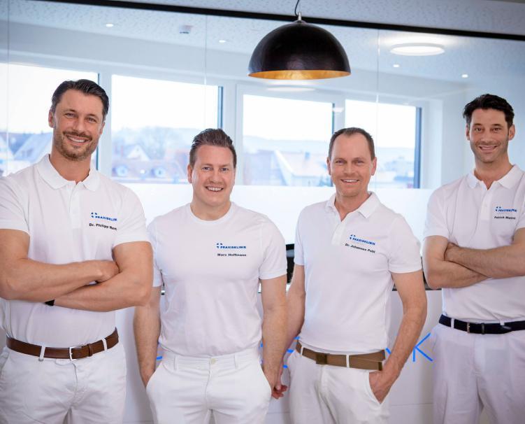 Haben die Idee für die Praxisklinik Leintal realisiert: (von links) Dr. Philipp Menzel, Marc Hoffmann, Dr. Johannes Pohl und Patrick Menzel.