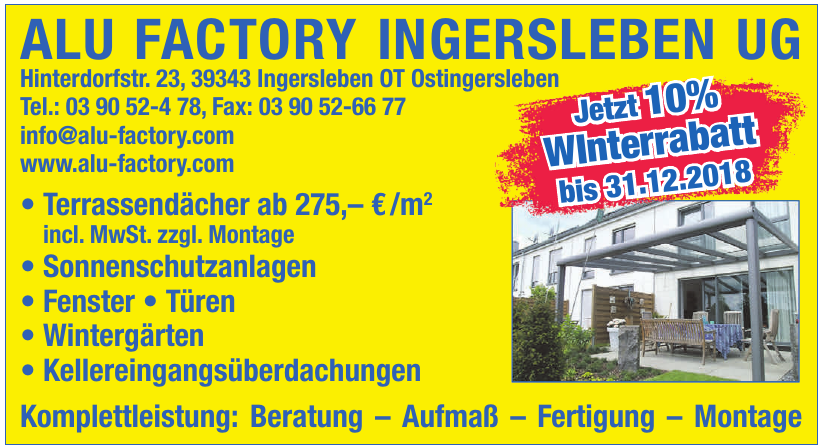 Alu Factory Ingersleben UG