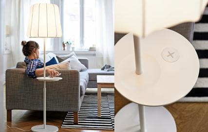 Ein Ende des Kabel-Wirrwarrs: integrierte Handy-Ladestationen ohne Kabel. FOTO: OBS / IKEA DEUTSCHLAND GMBH & CO. KG