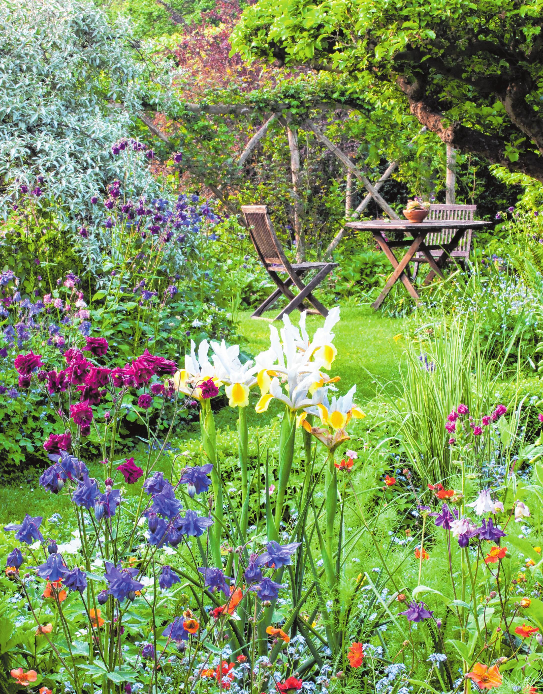 Im Cottage-Garten werden durchgängige Sichtachsen vermieden, so dass jedes Eckchen des Gartens eine Überraschung bieten könnte, die man erst beim Betreten sieht.