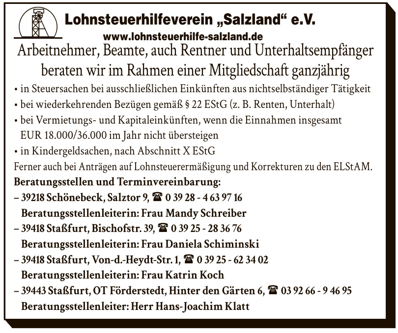 "Lohnsteuerhilfeverein ""Salzland"" e.V.- Beratungsstellenleiterin: Frau Katrin Koch"