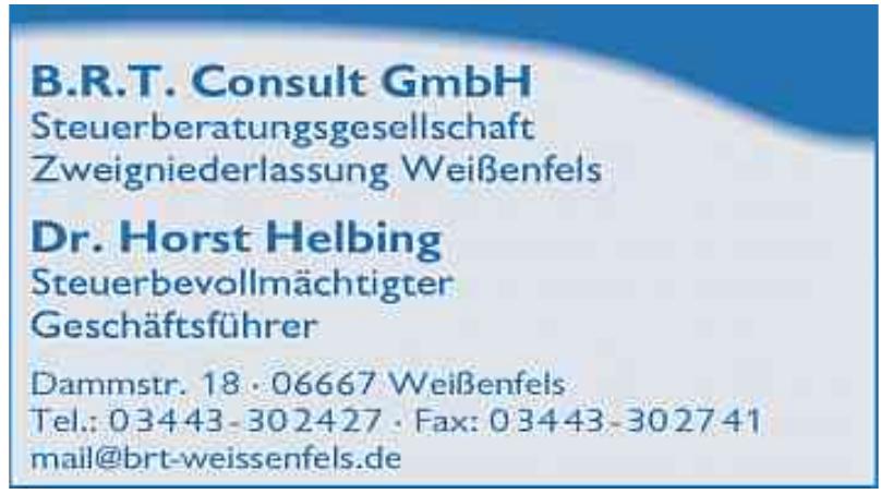 B.R.T. Consult GmbH Steuerberatungsgesellschaft Zweigniederlassung Weißenfels