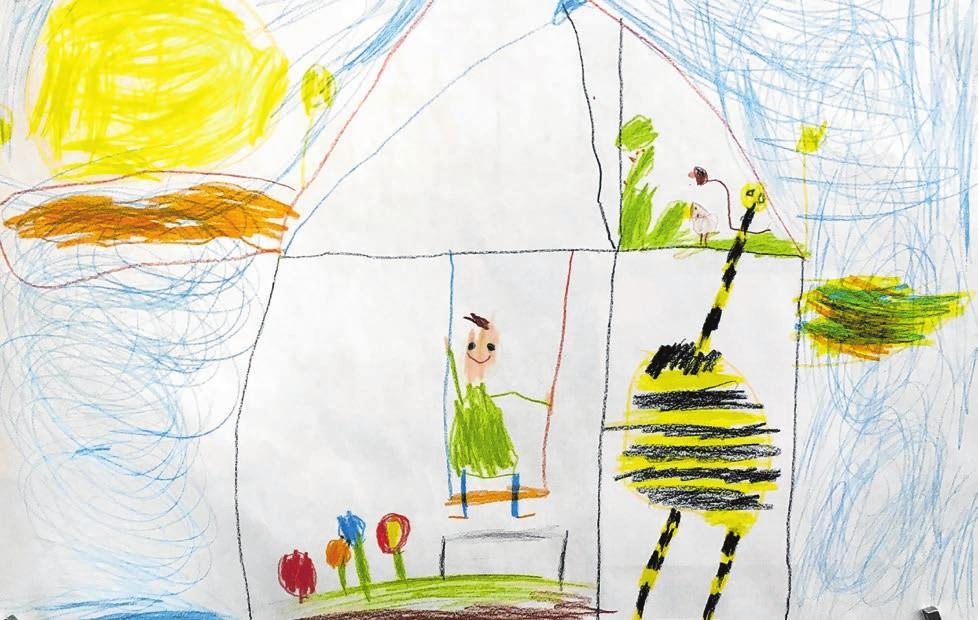 """Mit dem Wettbewerb """"Mal dein Traumhaus"""" machte die private Baugemeinschaft """"Trauben & Rosinen"""" auf ihr Projekt aufmerksam. Der sechsjährige Tim entwarf ein Haus """"bis zur Sonne"""", in dem er mit einem Huhn und einer Giraffe zusammenwohnen will."""