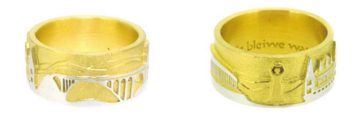 Luxemburgischer Ring, zweifarbig nur auf Bestellung, erhältlich auch in Silber und oxidiertem Silber.