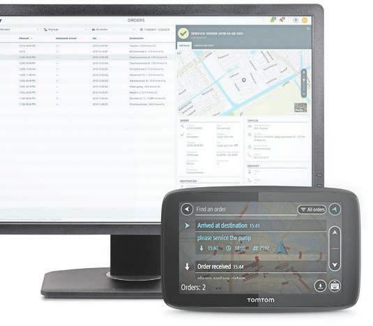 Lösung von TomTomTelematics: Mit Webfleet stehen die Daten über ein Terminal automatisch allen für die Weiterverarbeitung zur Verfügung.