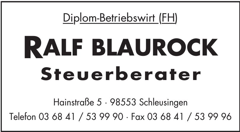 Diplom-Betriebswirt (FH) Ralf Blaurock Steuerberater