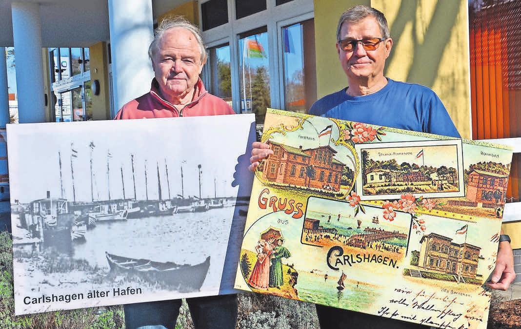 Rainer Virgils (li.) und Horst Lewerenz präsentieren die Bildertafeln über die Geschichte Karlshagens. Foto: KV Karlshagen