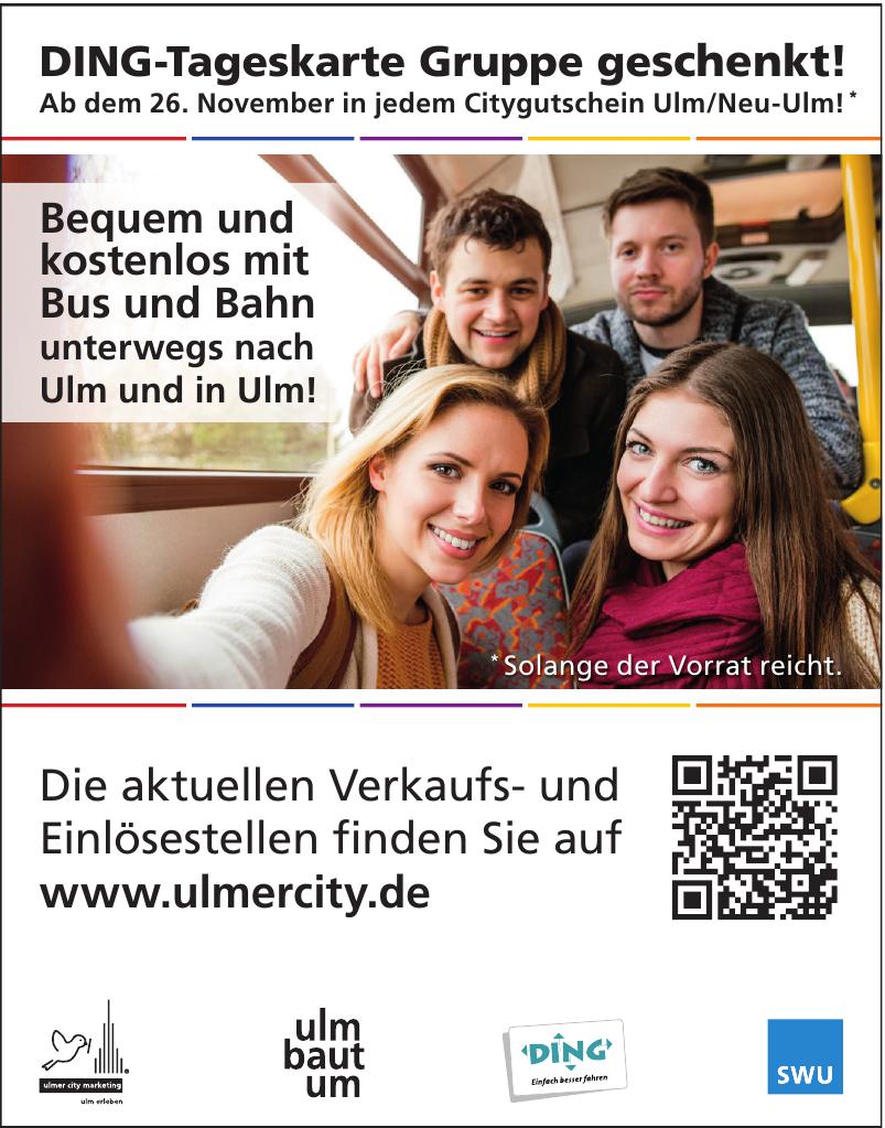 Citygutschein Ulm/Neu-Ulm - DING-Tageskarte