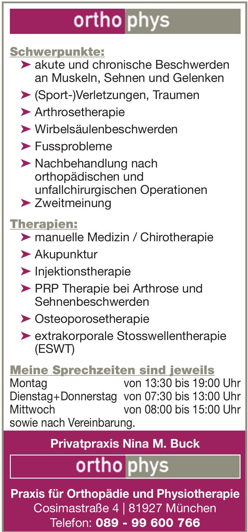 Privatpraxis Nina M. Buck ortho phys - Praxis für Orthopädie und Physiotherapie