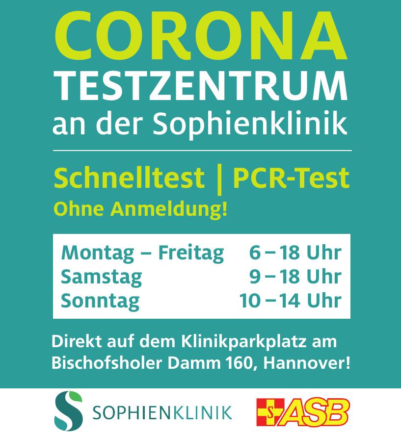 Corona-Testzentrum an der Sophienklinik