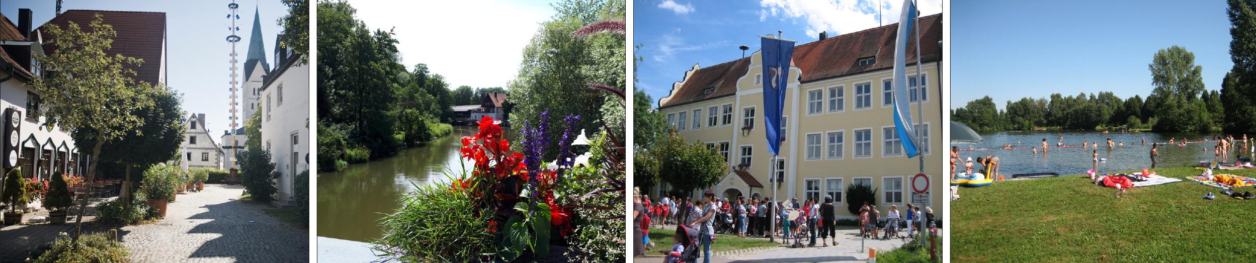 Viele Einrichtungen des täglichen Bedarfs und ein breit gefächertes Freizeitangebot sind in Reichertshofen zu finden.Nahe gelegene Badeseen wie der Heideweiher (Bild rechts) erfreuen sich großer Beliebtheit auch über die Marktgemeinde hinaus. Fotos: Markt Reichertshofen