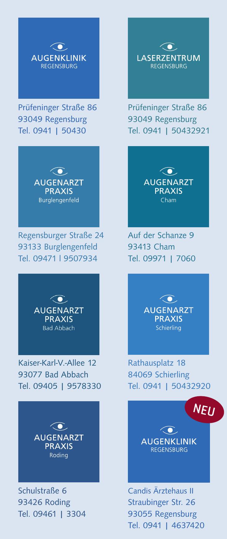 Augenklinik Regensburg: Standorte MVZ Augenärzte und Augenarztpraxen