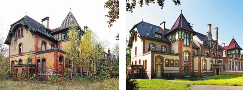 Beispiel Beelitz-Heilstätten: ehemaliges Küchengebäude vor und nach der Sanierung. FOTOS: KRISTINA GESKE / KW-DEVELOPMENT