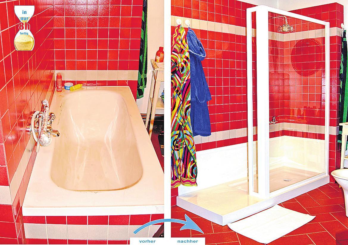 Von der Badewanne zur Dusche – mit neuem Schwung in den Tag. Die Badewanne wird bei Lieb in nur acht Stunden zur Duschoase.