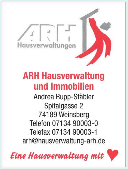 ARH Hausverwatlung und Immobilien Andrea Rupp-Stäbler