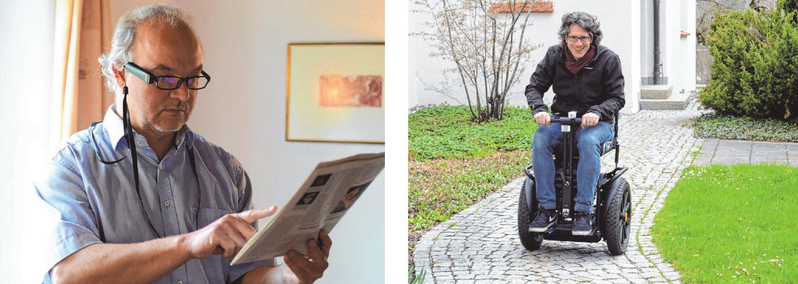 Die OrCam liest Dr. Andreas Hub die Zeitung vor (l.). Redakteur Christoph Schneider testet den AddSeat in Mittelbiberach . FOTOS: CS