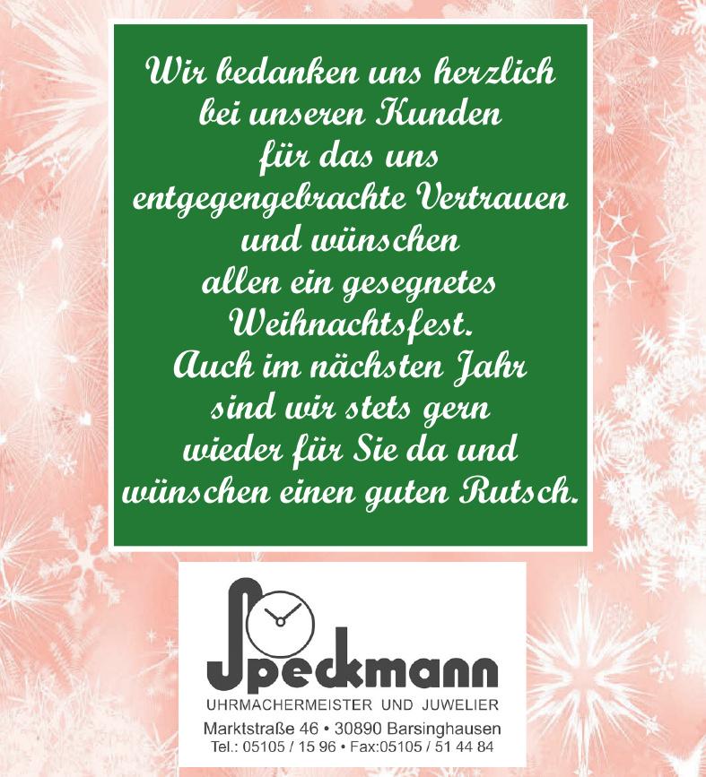 Uhrmachermeister und Juwelier Speckmann