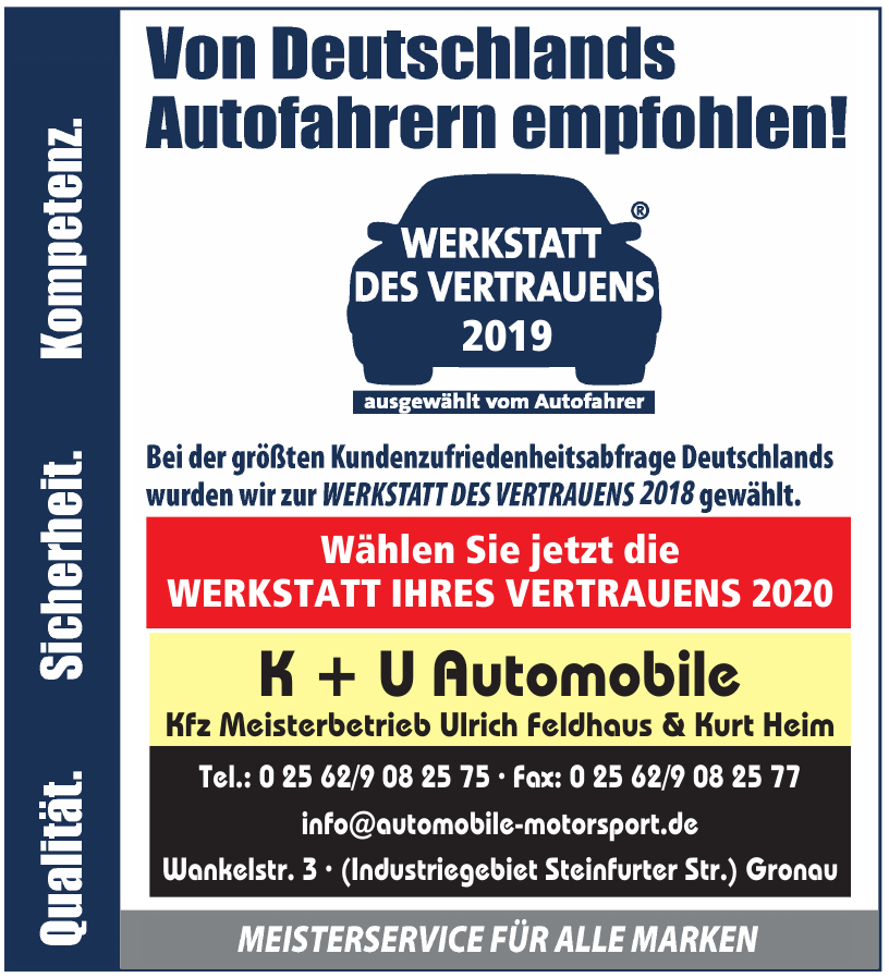 K + U Automobile Kfz Meisterbetrieb Ulrich Feldhaus & Kurt Heim