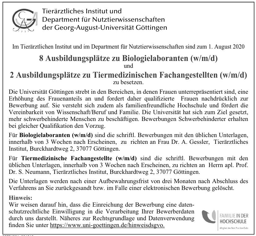 Tieräztliches Institut und Department für Nutztierwissenschfaten der Georg-August-Universität Göttingen