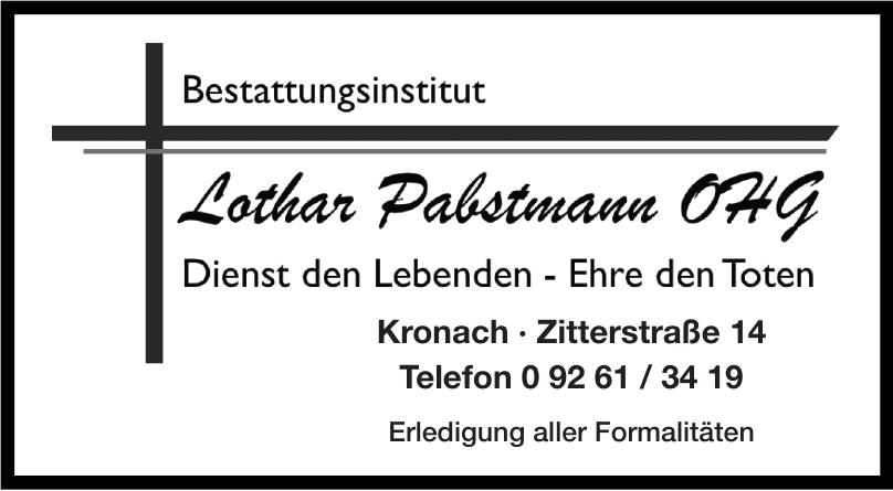 Bestattungsinstitut  Lothar Pabstmann OHG