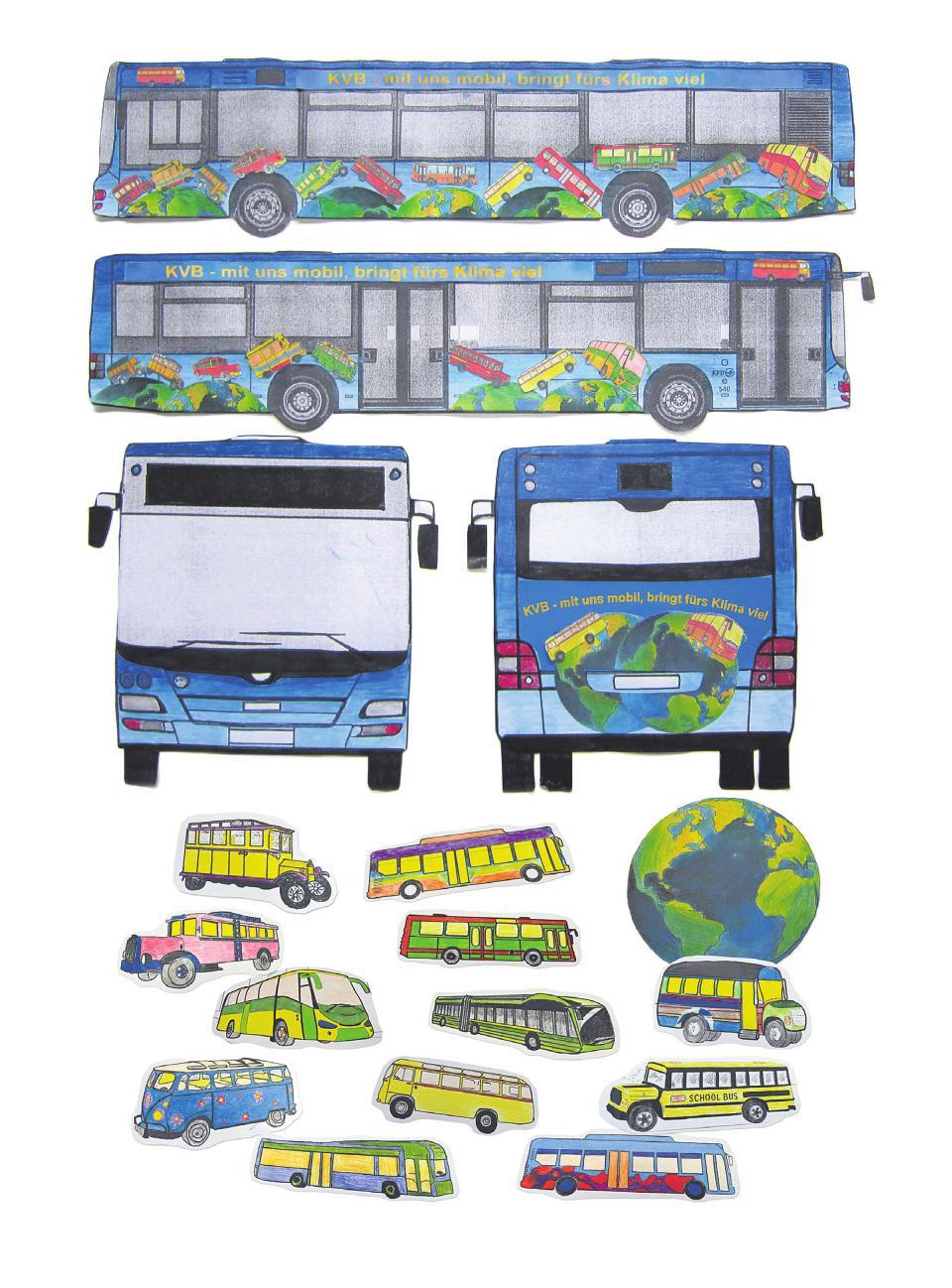 """Kopernikusschule, Kunstgruppe Klasse 9: """"Fridays for Future"""" hat es geschafft, unterschiedliche Menschen wachzurütteln und zum Nachdenken und CO2-Sparen zu bewegen. Wir wollen möglichst viele Menschen dazu bringen, vom Auto oder Flugzeug auf den Bus umzusteigen und zeigen, wie klimafreundlich sich die Busse entwickelt haben. Deshalb: """"KVB – mit uns mobil bringt fürs Klima viel."""""""