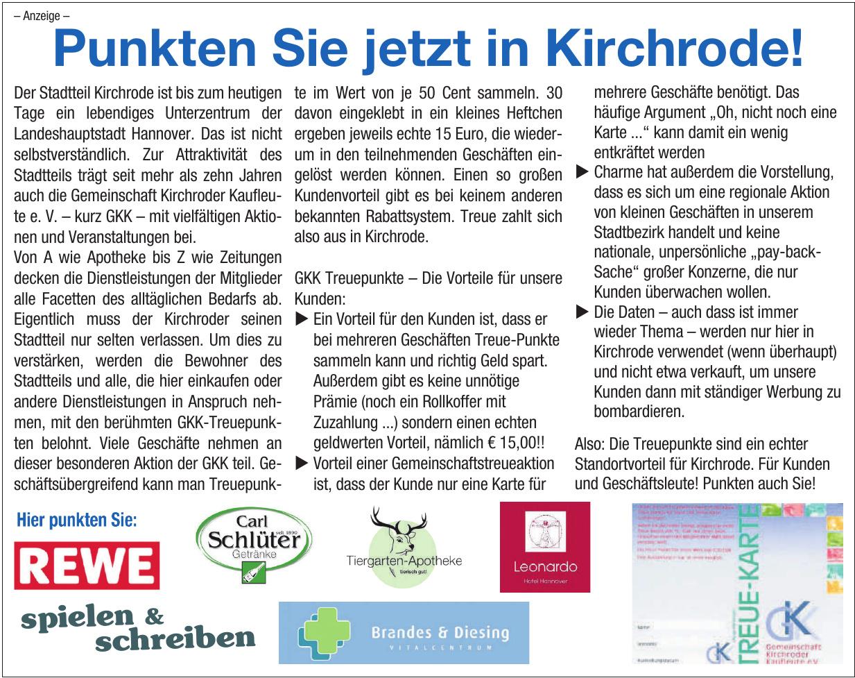 Punkten Sie jetzt in Kirchrode!