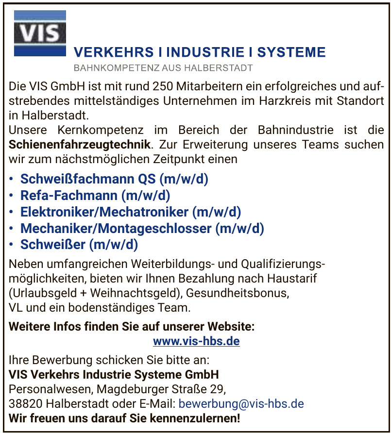 VIS Verkehrs Industrie Systeme GmbH