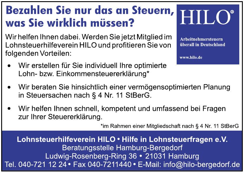 Lohnsteuerhilfeverein HILO - Hilfe in Lohnsteuerfragen e.V.
